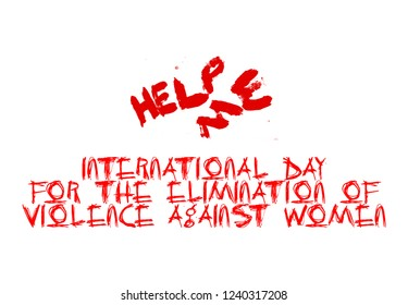 Red text and red Illustration design for International Day for the Elimination of Violence against Women. On a white background
