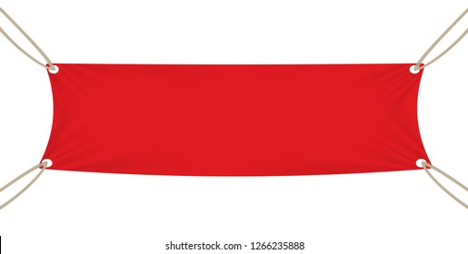 Red textile banner template. Illustration