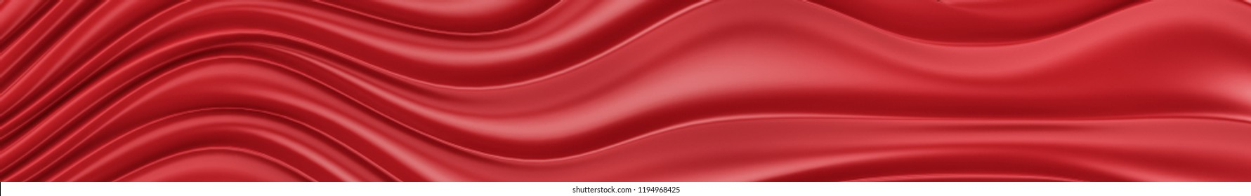 Red texture of a fabric satin. Gorizontal panoramic view for kithen panel skinali. 3d rendering