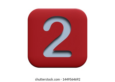Red textured icon with number 2 isolated on white, 3d illustration