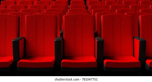 Red theater chairs background, front view. 3d illustration