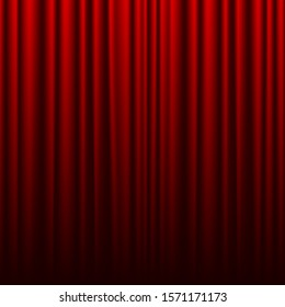 Red theater curtain. Background for banner or poster. illustration