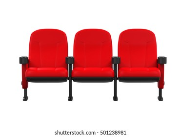 Red Theater Seats. 3D rendering