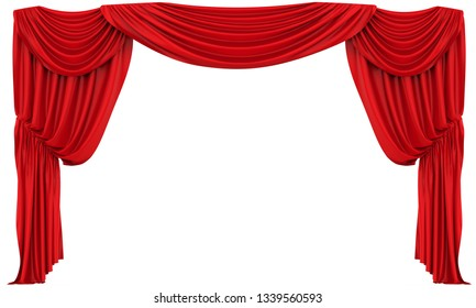 Red Theatre Curtain Isolated. 3D rendering