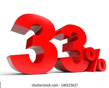 Red thirty three percent off. Discount 33%. 3D illustration.