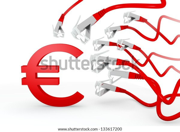 Red  threatened danger 3d graphic with isolated Euro icon attacked by a cyber network