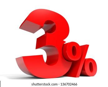 Red three percent off. Discount 3%. 3D illustration.