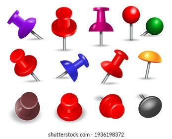 Red thumbtack. Office supplies for paper note push and attachments objects organize angle mount pin colored markers set