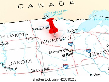 Red Thumbtack Over Minnesota State USA Map. 3D rendering