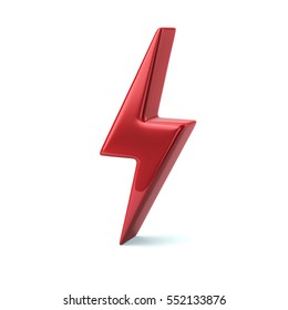 Red thunderbolt icon 3d illustration isolated on white background