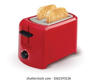 Red toaster with toasted bread for breakfast inside. isolated on White. Realistic 3d illustration.