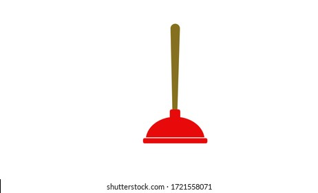 Red Toilet Plunger. Isolated illustration