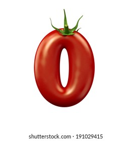 Red tomato number 0 on a white background, isolated
