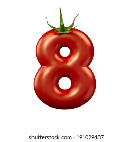 Red tomato number 8 on a white background, isolated