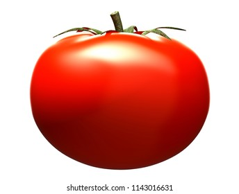 Red tomato on a white background,3D illustration