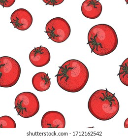 Red tomato seamless pattern background color sketch engraving raster illustration. T-shirt apparel print design. Scratch board imitation. Black and white hand drawn image.