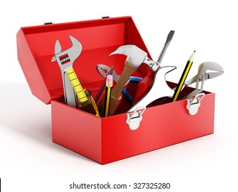 Red toolbox full of hand tools isolated on white background
