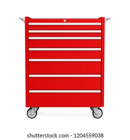 Red Tools Cabinet Isolated. 3D rendering