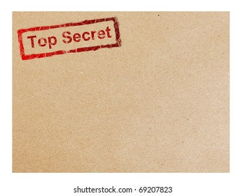 Red top secret stamp on cardboard background, space to insert text or design