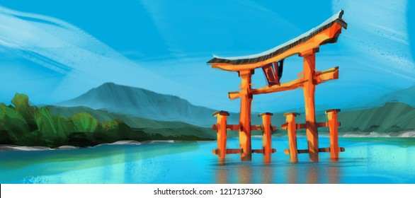red torii gate of Hakone shrine at Ashi lake while cloud against sunny blue sky, digital illustration art painting design style. (wide screen)