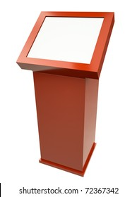Red touch screen terminal isolated against a white background. 3D rendered image.