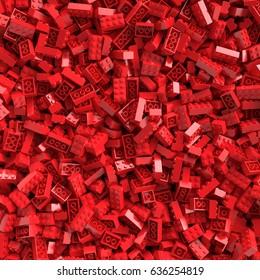 Red toy bricks background. 3D Rendering.
