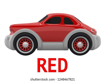 Red toy car and an inscription with the name of the color. Isolated on white background. 3D render