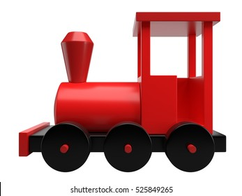 Red toy train isolated on white background, 3D rendering