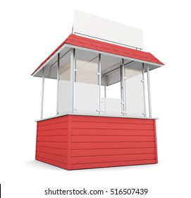 Red trade stall isolated on white background. 3d rendering.