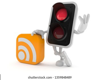 Red traffic light character with RSS icon isolated on white background. 3d illustration