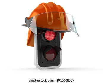 Red traffic light with fireman helmet isolated on white background. 3d illustration
