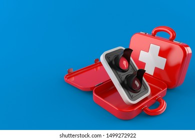 Red traffic light inside first aid kit isolated on blue background. 3d illustration