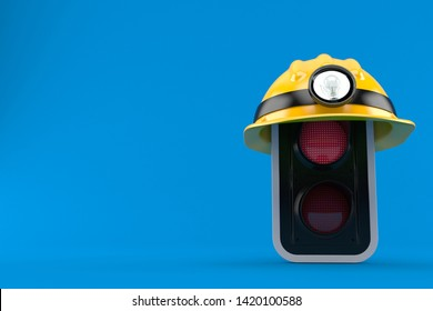Red traffic light with miner hat isolated on blue background. 3d illustration