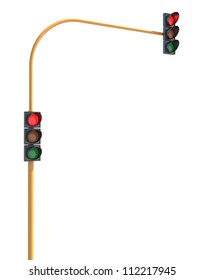 Red Traffic Light on Isolated White Background