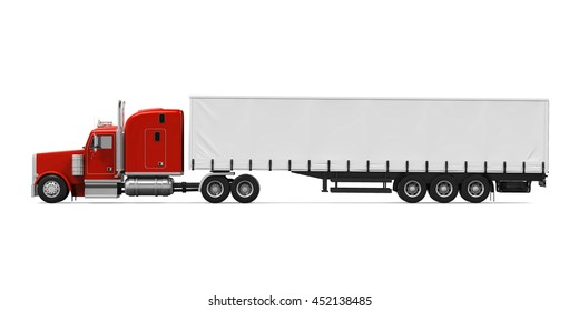 Red Trailer Truck. 3D rendering