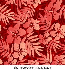 Red tropical flowers and leaves raster seamless pattern