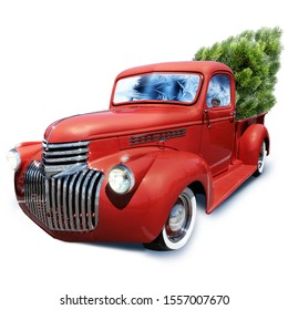 Red truck with a Christmas tree isolated on a white background