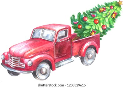 Red truck with christmas tree. Watercolor painting isolated on white background.