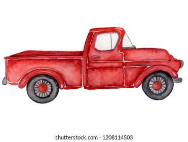Red truck watercolor hand drawn illustration