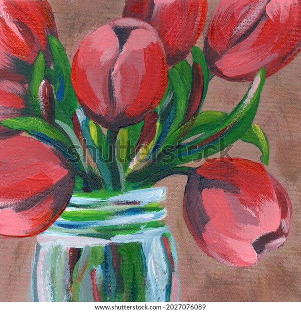 Red tulips in a jar acrylic painting illustration