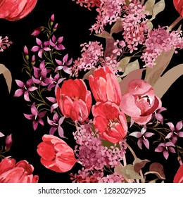 Red tulips, lilac and violet wild flowers watercolor on black background seamless pattern for all prints on hand painting style.