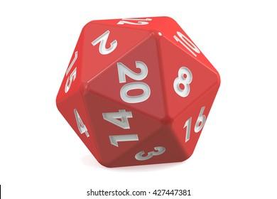 Red twenty-sided die, 20 sides. 3D rendering
