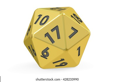 Red twenty-sided die, 20 sides. 3D rendering isolated on white background