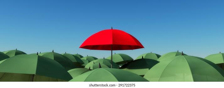 red umbrella and green umbrellas