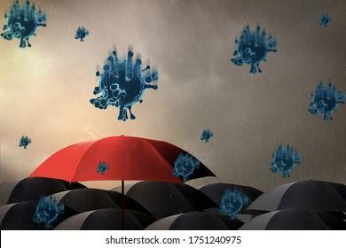 Parapluie rouge avec tempête, arrière-plan ciel et pluie avec nuage noir, virus épidémie coronavirus ou 19, en saison des pluies, planification de l'économie de concept, assurance, soins de santé et soins médicaux, rendu 3d