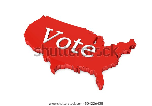 Map Of America Voting.Red Usa America Country Map Vote Stock Illustration 504226438