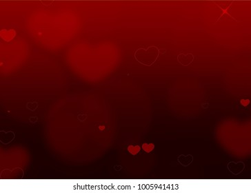 Red Valentine Flowing Hearts and Particles Love Background design illustration