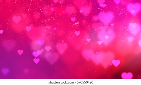 Red Valentine flowing hearts and sparkling particles background