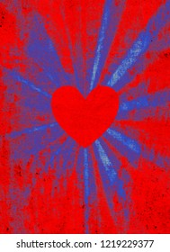Red valentine heart on grunge blue and red starburst background