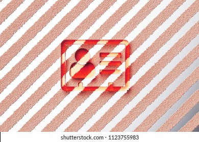 Red Vcard Icon on the Gray Stripe Pattern. 3D Illustration of Red v Card, v Card, Vcard, Vcard File, Vcard File Icon Set With Stripes Gray Background.